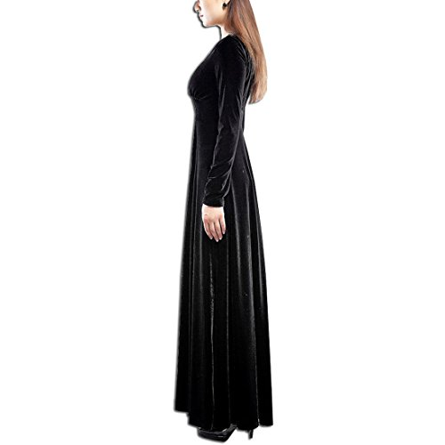 KAXIDY Femme Velours Robe Col V Manches longues Robe de Soirée Robe Longue Noir