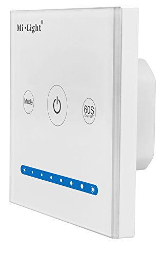 LIGHTEU, Smart-Panel-Controller P1 original MiLight weißes Glas Touch Panel LED-Controller DC12V 24V 2-Kanal Helligkeit Dimmen Kontrolle für LED-Streifen -