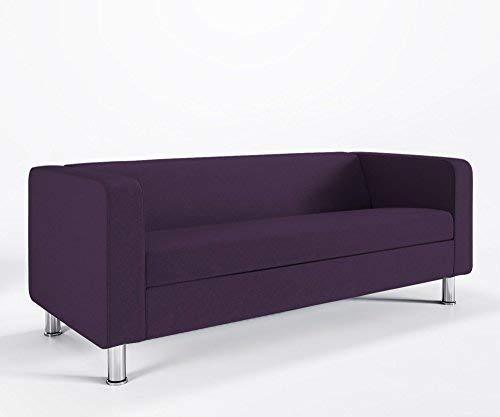 Loungesofa 3-Sitzer CUBBY 4N3 Cocktailsofa Hotelsofa Bürocouch Webstruktur LUNA, Farbe:L65 - Violett