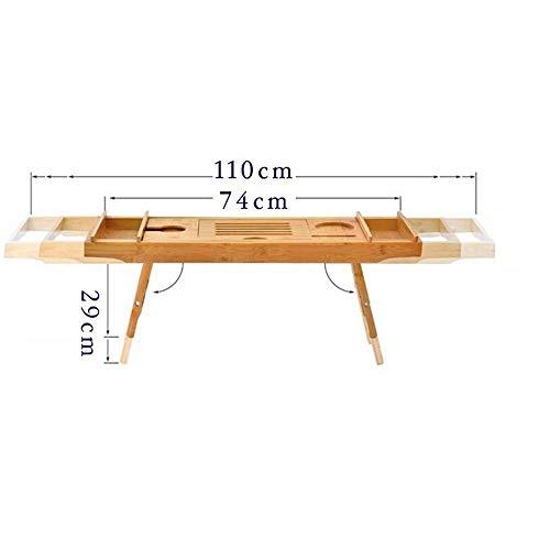 Jazi Regale Regale aus Bambus Badewanne Tablett, Bett Laptop Schreibtisch mit klappbaren Beinen, Badewanne Caddy mit verstellbaren Beinen, Weinglas Ipad-Halter. Gestelle