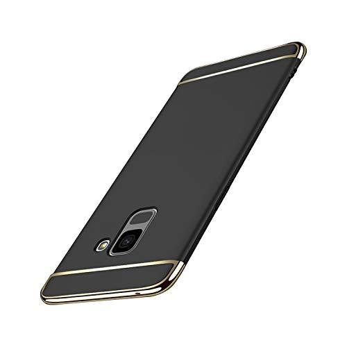 Galaxy A8 2018 Hülle Case, 3-Teilige Extra Dünn Hart Slim Thin Hard Cover Stylich Hochwertig Schutzhülle Schale Handy Hülle für Samsung Galaxy A8 2018 [3 in 1] (Galaxy A8 2018, Schwarz)