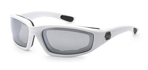 Moda Choppers Gangster Biker Schaumstoff gepolstert Matte Motorrad-Schutzbrille-Sonnenbrille 1 55 Mittel Mirrored Weiß Silber