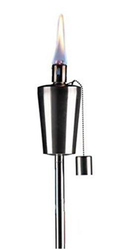 TORCHE EN INOX BOUGIE ECLAIRAGE LAMPE 115CM HUILE A PLANTER DANS LE JARDIN TERRASSE EXTERIEUR