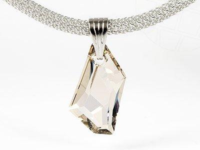 Halskette mit Swarovski Elements Anhänger (Crystal-Silver Shade) -
