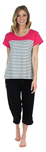 Frankie & Johnny Schlafanzug für Damen, T-Shirt mit Kurzen Ärmeln und Caprihose, Pyjama (FJ1944-B1058-EU-XL)