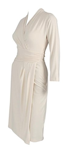 MY EVENING DRESS - Robe pour Femmes Col en V Manche 3/4 en Jersey Empire Crème