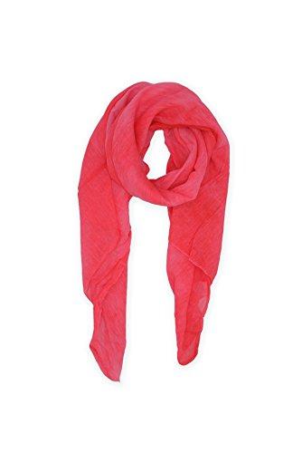 Abbino 0804-1 Schal Tuch für Frauen Damen - Made in Italy - 20 Farben - Frühling Sommer Herbst Damenschal Baumwolle Unifarbe Sale Sexy Stilvoll Lang Gross Festlich Lässig Freizeit - Rot