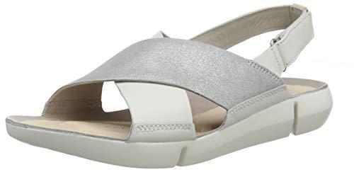Clarks Women's Tri Chloe Sling Back Sandals, (White/Silver-), 6.5 UK