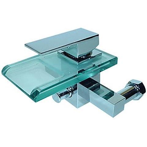 orgfs rubinetto moderno cascata rubinetto bagno rubinetto vasca con vetro beccuccio (montaggio a