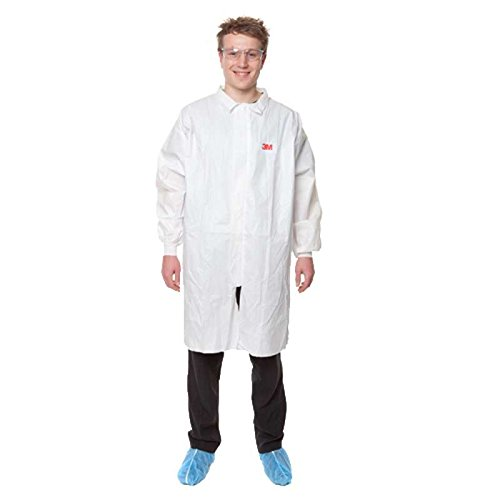 3M K4441GT4440 Laborkittel / Arztkittel mit Kragen laminiert weiß Größe L