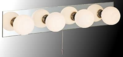 "Marco Tielle ""Hollywood"" Bathroom IP44 Mirrored Wall Light with Opal Globes"