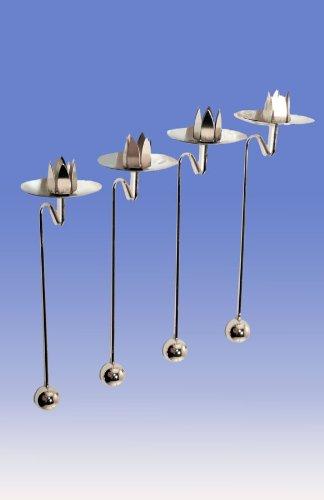 Balance-Kerzenhalter silber 12 Stück (ALA56)