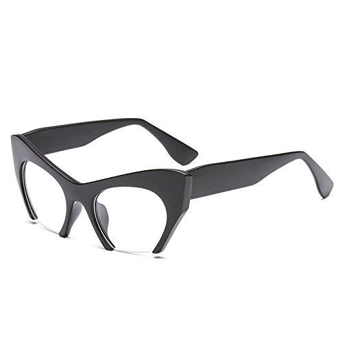 PDYCD Einfach Sonnenbrille Populär Modisch Mode Ussia Halbrahmen Katzenauge Flacher Spiegel Individualität Diesy Retro Sonnenschutzspiegel,SandBlack