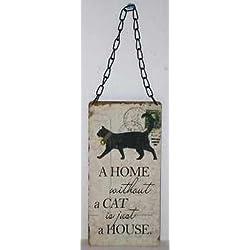 """Madera envejecido/Shabby Chic cartel """"Una Casa Sin un gato"""""""