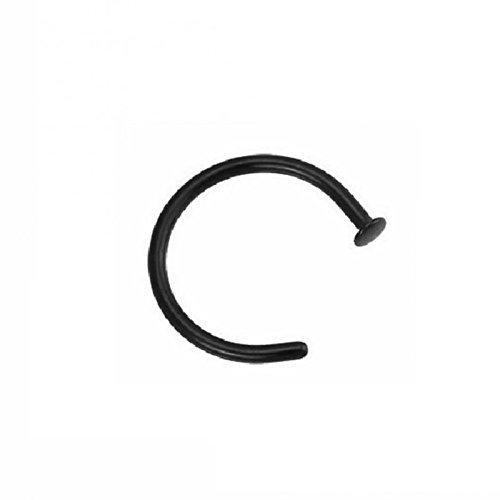 Black Steel - Nasenring mit Flat Disc (Septum Piercing Klick Ring Nasenring Nose schwarz) Stärke: 0,8 mm | Durchmesser: 10 mm