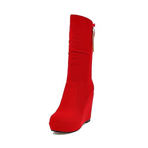 VogueZone009 Damen Niedrig-Spitze Eingelegt Reißverschluss Hoher Absatz Stiefel mit Anhänger Rot