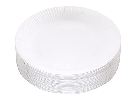 Kingfisher KCP1009 Lot de 100 assiettes en carton jetables Blanc