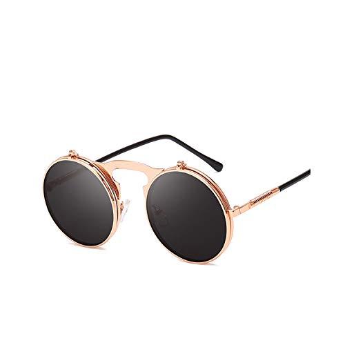 Sportbrillen, Angeln Golfbrille,Sunglasses Flip Sun Glasses Steampunk Fold Men Women Double Lens Clear Alloy Frame Eyewear Eyeglasses Shade UV400 Rose Gold Gray