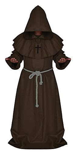 Männer Comic Con Kostüm - Halloween Kostüme Mantel Comic Con Party Cosplay Kostüm Mit Kapuze Roben Mantel Cape Friar Renaissance Priester Für MännerUmhang-1-XL