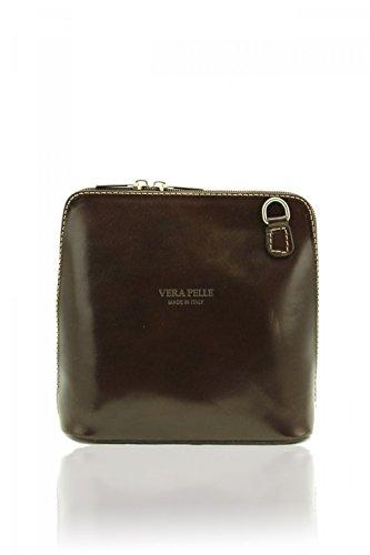 SALE SALE Genuine Italian Leather, Small/Mini Cross Body Bag or Shoulder Bag, Handbag, Vera Pelle (Dark Choclate)
