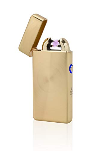 TESLA Lighter T08 | Lichtbogen Feuerzeug, Plasma Double-Arc, elektronisch Wiederaufladbar, Aufladbar mit Strom per USB, ohne Gas und Benzin, mit Ladekabel, in Edler Geschenkverpackung, Gold gebürstet