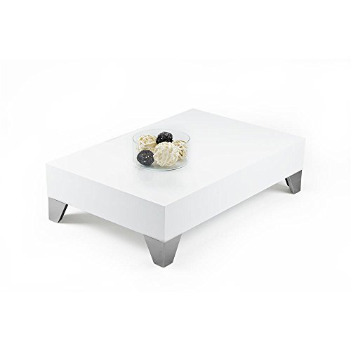 MOBILIFIVER Evolution 90 Table de Salon, en Bois, Blanc Brillant, 90 x 90 x 24 cm