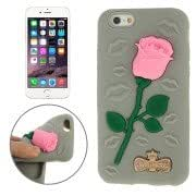 Alcoa Prime 3D Rose Pattern Silicone Case for iPhone 6(Grey)