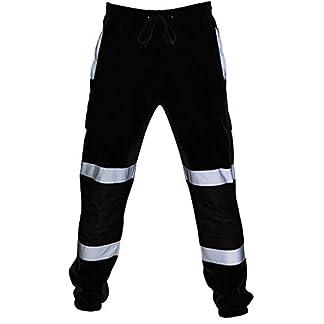 Pantalón Chandal Hombre Deportivos Trabajo en la Carretera Monos de Alta Visibilidad Bolsillo Pantalones Casuales para Hombre Holatee