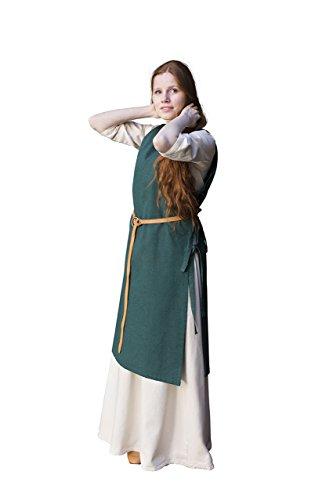 kleid Damen mit Seitlichen Schnürungen ärmelloses Kleid Aus Robuster Baumwolle Grün - L (Grün Mittelalterliches Kleid)