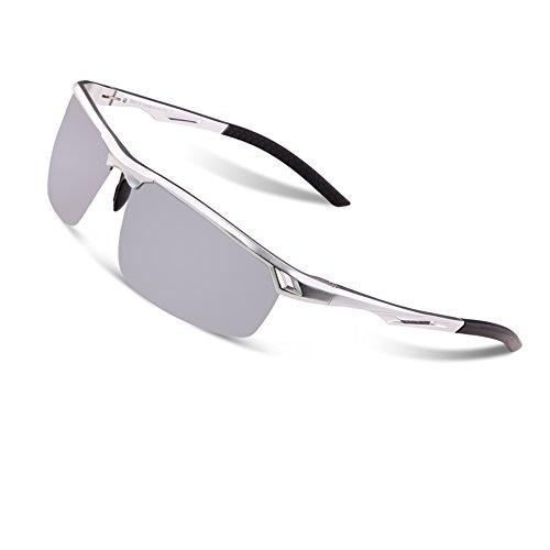 Lunettes de soleil polarisées Duco incassables UV400 Lunettes de soleil Hommes pour sports de plein air Lunettes de soleil avec verres colorés 8550 (Argenté, argent miroir)