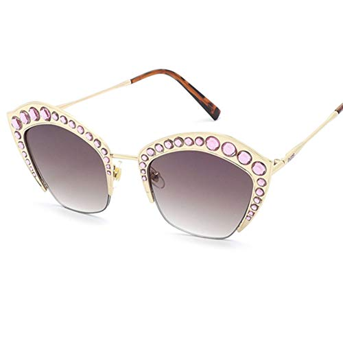 Z&HA Womens Crystal verschönert Sonnenbrille Glittered Metal Frame Fashion Eyewear UV400,01