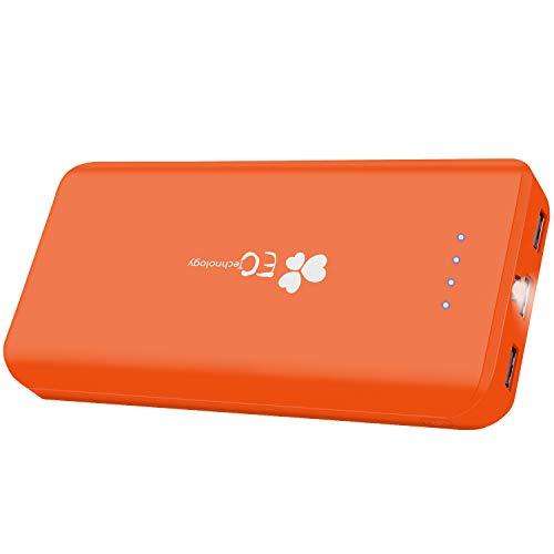 EC Technology Powerbank 22400 mAh Externer Akku mit 3 USB,Auto IC Ausgangen hohe Kapazitat Eingang Port Tragbar Power Bank für Smartphones Orange