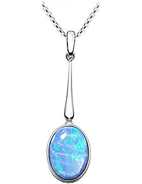Blauer Opal Anhänger aus Sterling Silber, atemberaubende Farben in einer Geschenkbox.