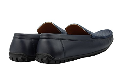 Pour Homme Noir/Bleu en simili cuir tissé Vamp Mocassins Casual Flâneur Chaussures Antidérapant sur la conduite Bleu - bleu