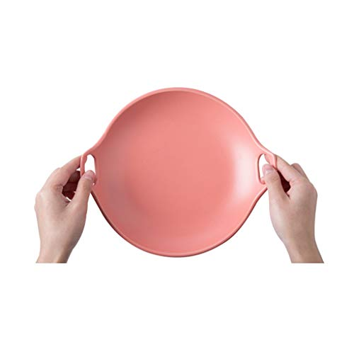 YYF Assiette binaurale givrée - collation/fruits/plat froid/salade/steak 20,2 cm (Color : Pink)