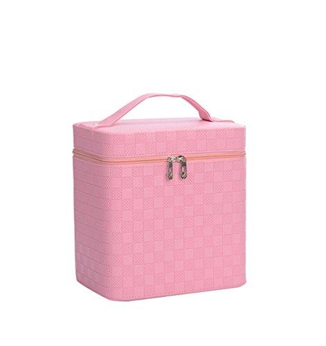 Borse personalizzate Cosmetic Bag / Piccola Piazza del pacchetto a doppio strato Cosmetics portatile pacchetto di grande capienza della benna del sacchetto di modo svegli pratico ( colore : Rosa )