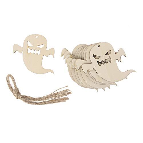 Senoow 10 Stück Holz Halloween Geist Hängende Anhänger Home Decor DIY Ornamente Mit Seil