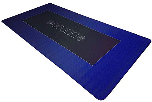 Bullets Playing Cards Profi Pokermatte Blau in 160 x 80cm eigenen Pokertisch - Deluxe Pokertuch – Pokerteppich – Pokertischauflage – ideal als Geschenk