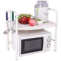 Estante-Estante de cocina Horno de microondas Estante de almacenamiento de piso de almacenamiento de cocina (Color : Blanco)