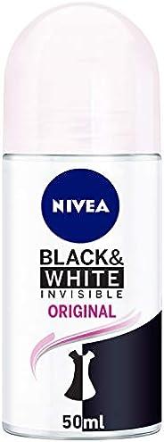 NIVEA, Deodorant Female, Invisible Black & White, Clear, Roll On,