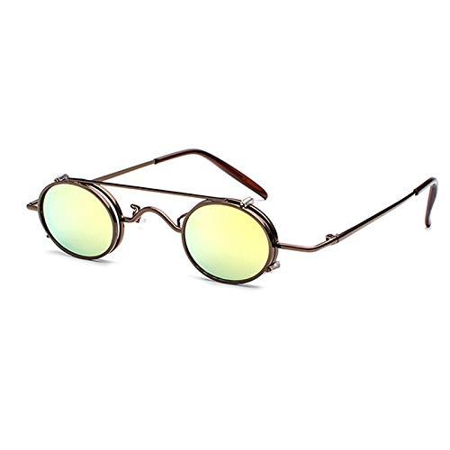 ZJHZJH Kleine Steampunk Oval Sonnenbrille Frauen Männer Vintage Punk Metallrahmen Clip Auf Abnehmbare Sonnenbrille Für Weibliche UV400