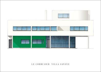 Reproduktion Le Corbusier (Le Corbusier Villa Savoye Poster Kunstdruck Bild 50x70cm)