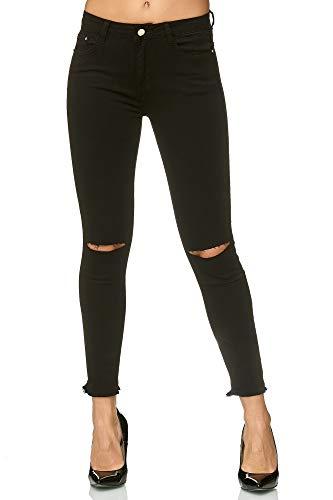 Elara Damen Stretch Hose Skinny Jeans Elastisch Chunkyrayan E667-1 Black 34 (XS)