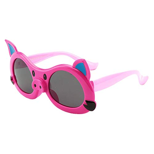 Kunfang Kunststoff Kind Sonnenbrillen Outdoor Cartoon Schwein Candy Farbe Silikagel Runde Multicolor ()