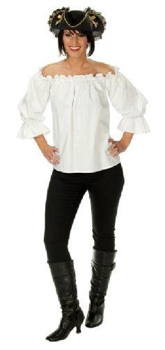 Bluse Pirat Damen (Karneval Damen Kostüm Piraten Bluse weiß Seeräuber Fasching Größe)