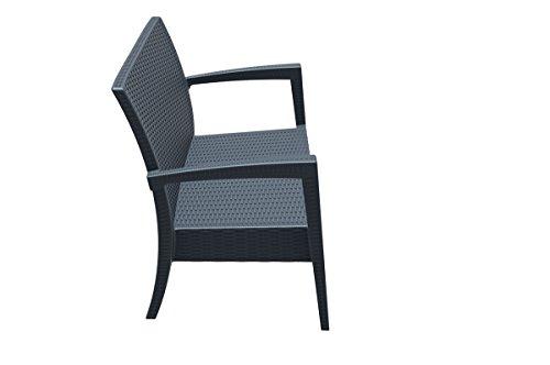 CLP 2er Rattan Garten Lounge-Sofa MIAMI V2, Vollkunststoff in Rattan-Optik, ca. 130 x 80 cm, mit Sitzkissen, stapelbare Sitzbank Dunkelgrau - 3