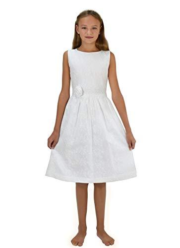 VERASPOSA® Natürliches Kommunionskleid Mädchen Greta weiß, 100% Baumwolle, romantischer Vintage Stil, färbbar (152/158, weiß)