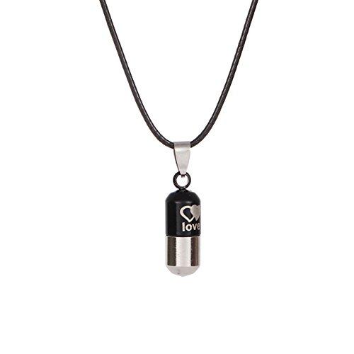 Shyyymaoyi Halskette mit Anhänger aus Titanstahl, für ätherische Öle, Flasche, Parfümflasche, Geschenk Schwarz -