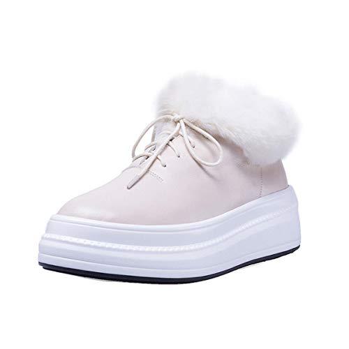 DANDANJIE Womens Schuhe Leder Warm Winter Ankle Boots Faux Plush Wedge Heel Damen Lace-Up Rutschfeste Schuhe,Beige,37EU -