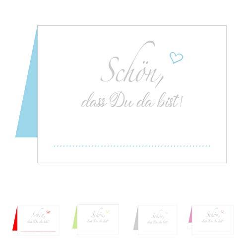 0 Premium Tischkarten Tischkärtchen Platzkarten Namenskarten Hochzeit - Geburtstag - Taufe - Kommunion - Konfirmation - Firmung - Jugendweihe - Goldene Hochzeit (Hellblau Blau) ()